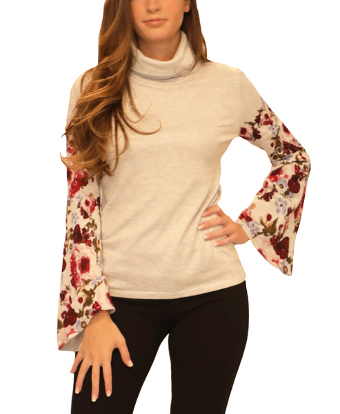 Floral Turtleneck Sweater - Fox's
