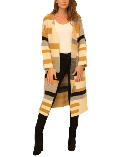 Colorblock Long Cardigan Sweater - Fox's