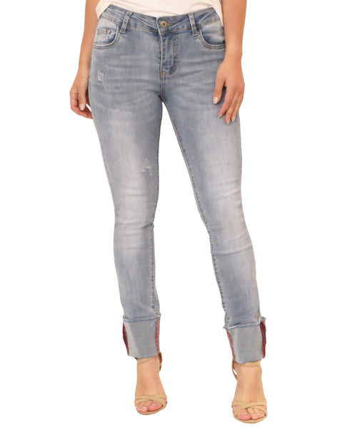 Distressed Skinny Jean w/ Cuffed Hem