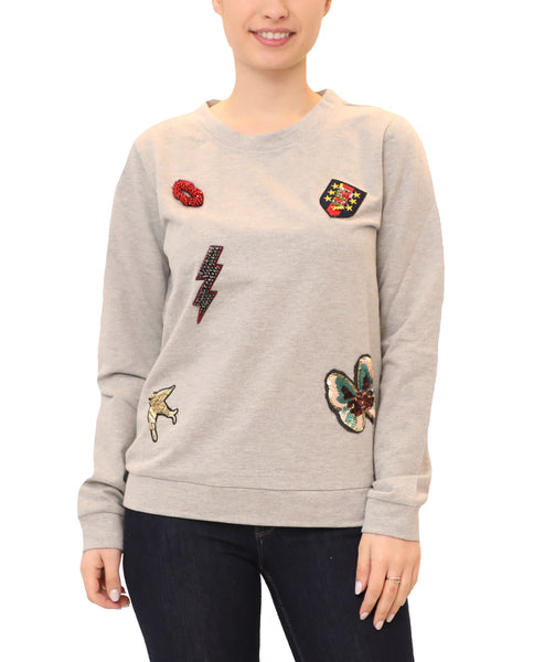 Sweatshirt w/ Sequined Patches