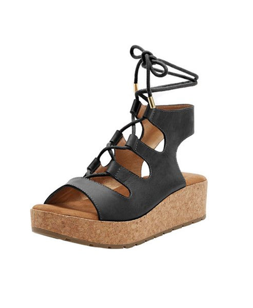 Leather Sandal w/ Cork Platform