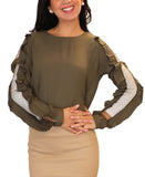 Blouse w/ Pleated Sleeve - Fox's