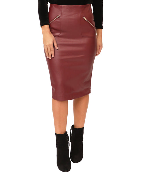 Faux Leather Pencil Skirt - Fox's