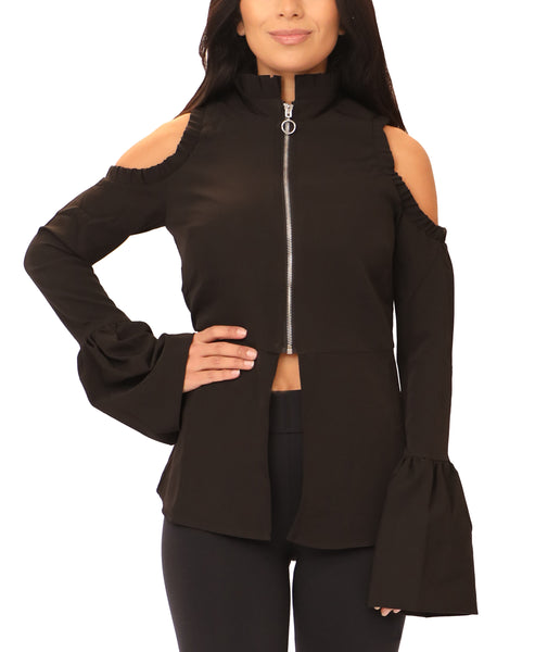 Cold Shoulder Peplum Jacket - Fox's