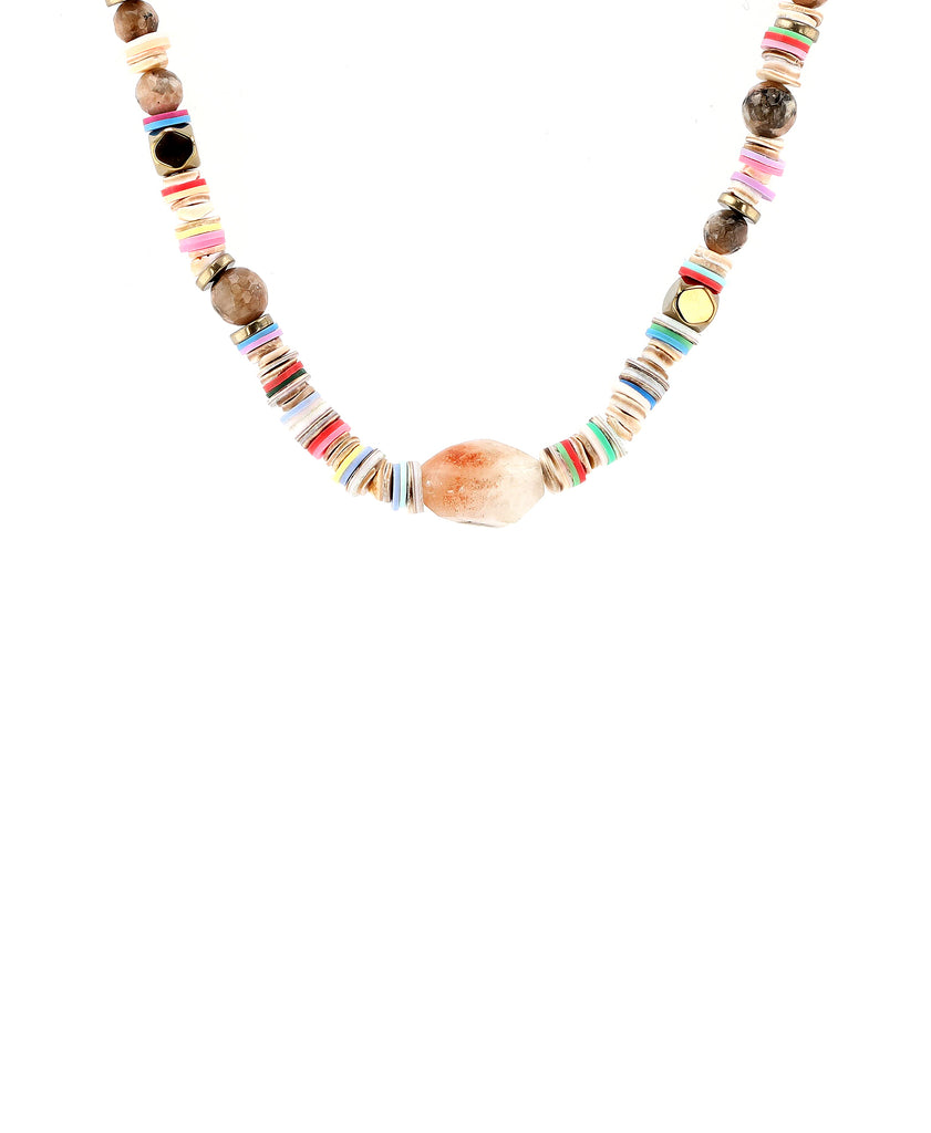 Beaded Collar Necklace w/ Agate