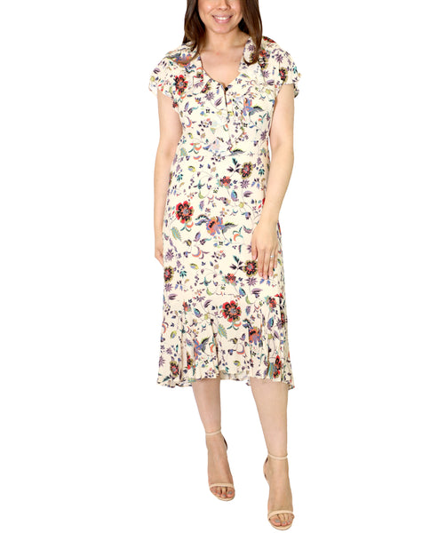 Zoom view for Ruffle Hi Low Floral Dress