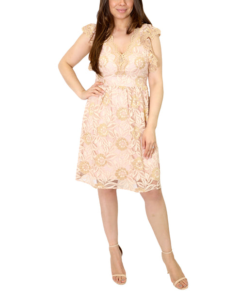 Zoom view for Scalloped V-Neck Eyelet Lace Dress