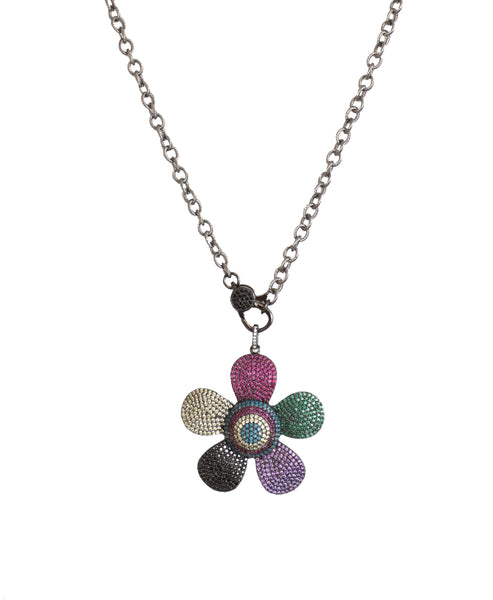 Necklace w/ CZ Flower Pendant