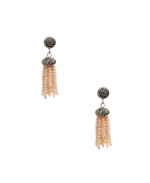 Crystal Beaded Tassel Earrings
