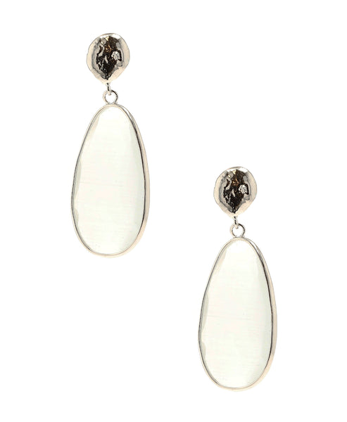Zoom view for Teardrop Faceted Stone Earrings