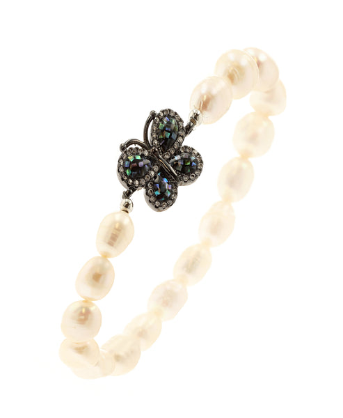 Fresh Water Pearl Stretch Bracelet w/ Abalone Butterfly - Fox's