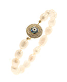 Fresh Water Pearl Stretch Bracelet w/ Abalone Evil Eye - Fox's