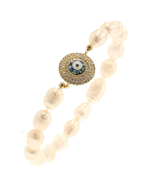 Fresh Water Pearl Stretch Bracelet w/ Abalone Evil Eye