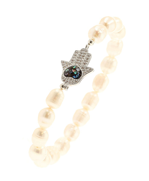 Zoom view for Fresh Water Pearl Stretch Bracelet w/ Abalone Hamsa