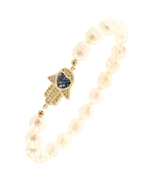 Fresh Water Pearl Stretch Bracelet w/ Abalone Hamsa - Fox's