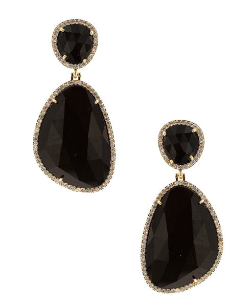 Zoom view for Drop Earrings w/ Cat Eye & Cubic Zirconia