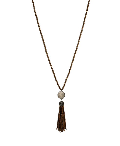 Fresh Water Pearl & Crystal Tassel Necklace