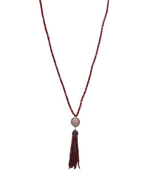 Fresh Water Pearl & Crystal Tassel Necklace - Fox's