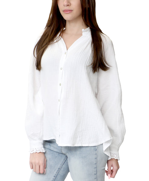 Zoom view for Button Front Ruffle Blouse