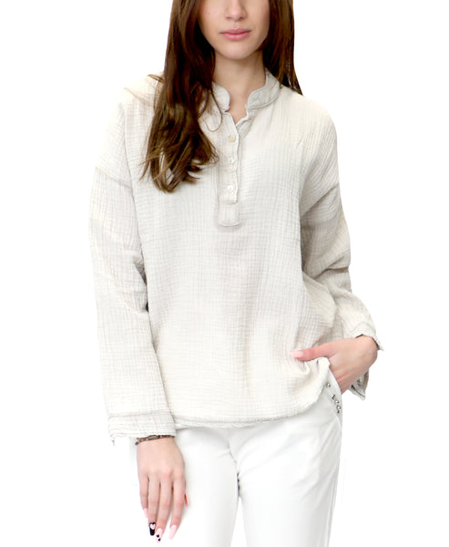 Zoom view for Cotton Half Button Up Top