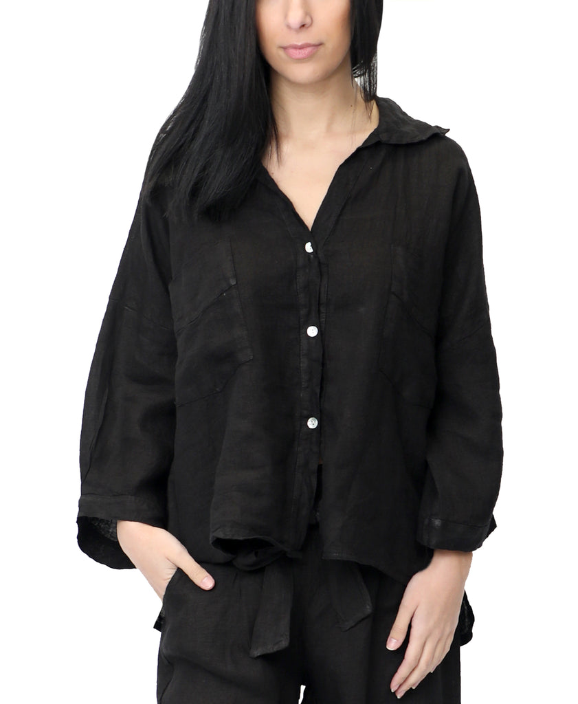 Linen Button Front Shirt
