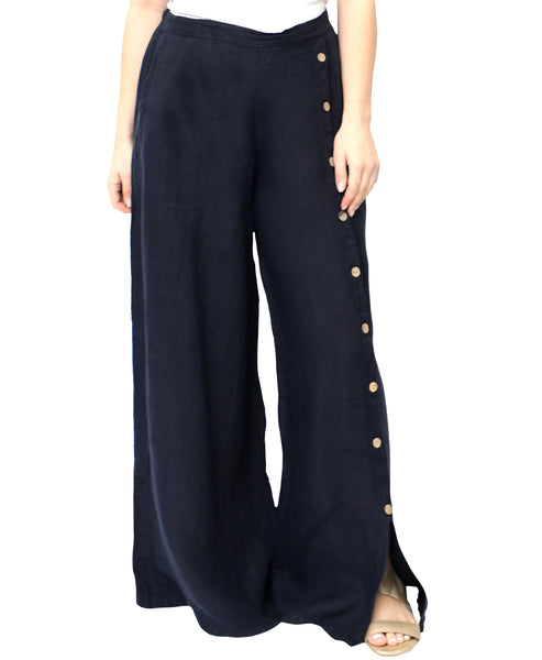 Zoom view for Linen Wide Leg Pants w/ Button Accents A