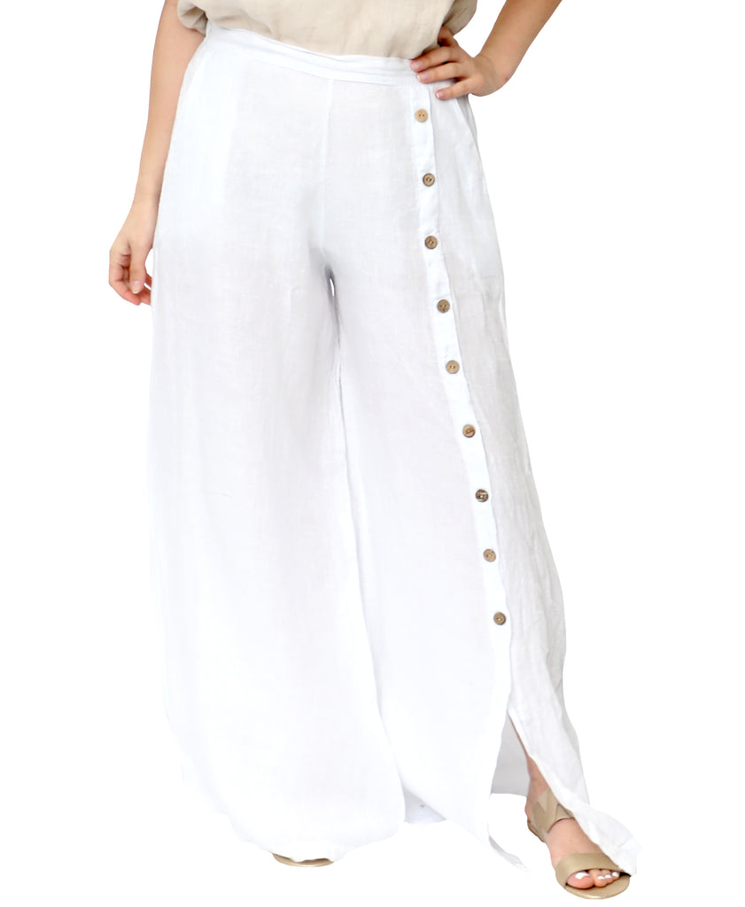 Linen Wide Leg Pants w/ Button Accents