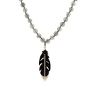 Agate Beaded Necklace w/ Stainless Steel Pendant
