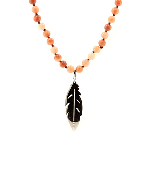 Agate Beaded Necklace w/ Stainless Steel Pendant - Fox's