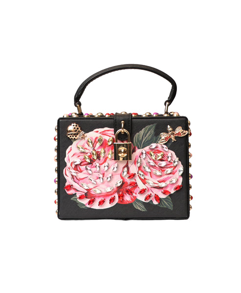 Floral Print Crystal Embellished Box Handbag