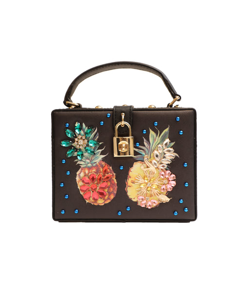 """Pineapple"" Embellished Box Handbag"