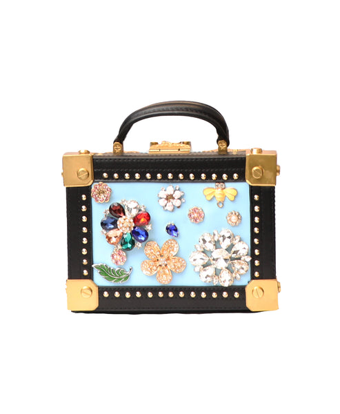 Floral Crystal Embellished Box Handbag