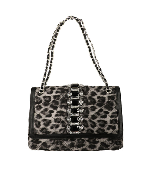 Quilted Leopard Print Handbag w/ Chain Strap