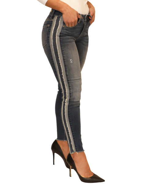 Zoom view for Mid-Rise Skinny Distressed Jeans