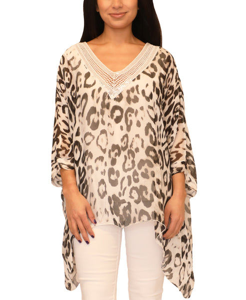 Zoom view for Silk Leopard Print Top - Fox's