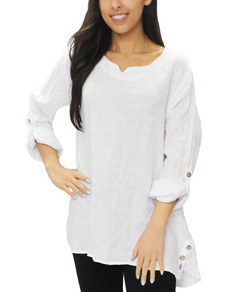 Zoom view for Linen Hi-Lo Tunic Top