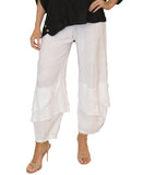 Linen Pant w/ Tiered Frayed Bottom