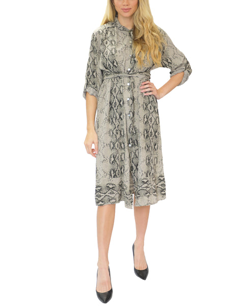 Zoom view for Snake Print Shirt Dress