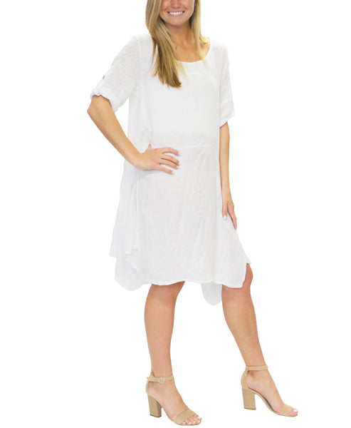 Zoom view for Linen Dress w/ Mesh