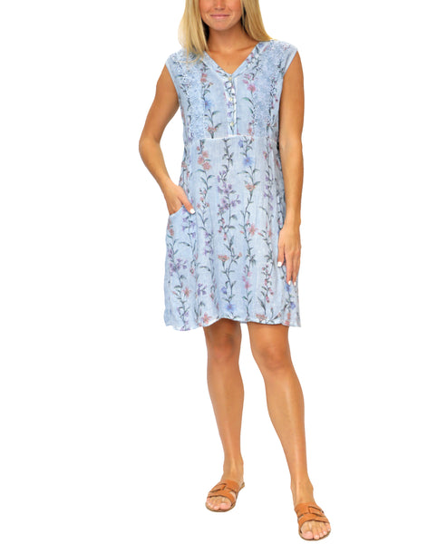 Zoom view for Linen Floral Dress