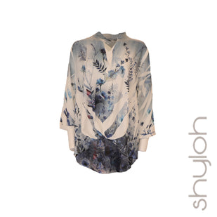Printed Split Neck Hi-Lo Top