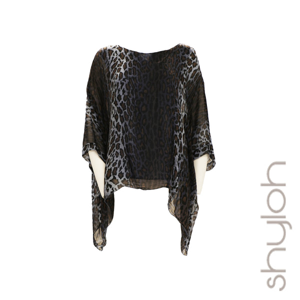 Silk Animal Print Dolman Sleeve Top