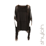 Silk Cold Shoulder Asymmetrical Tunic