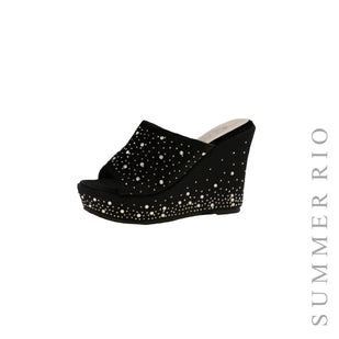 Rhinestone Platform Wedge Slides