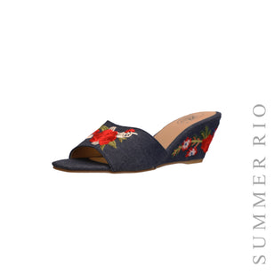 Embroidered Denim Wedge Slide