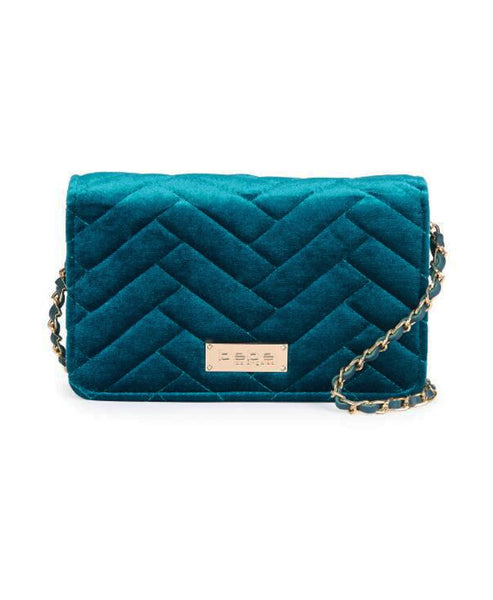Velvet Chevron Quilted Handbag