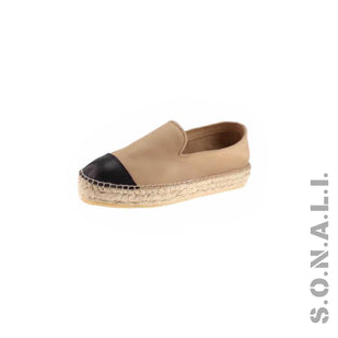 Leather Cap Toe Espadrille