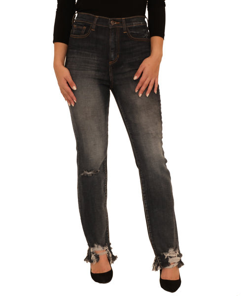 High Rise Jean w/ Frayed Hem