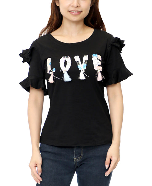 "Zoom view for ""Love"" Sequin & Tassel Tee"
