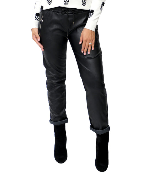 Zoom view for Faux Leather Pant w/ Zip Detail